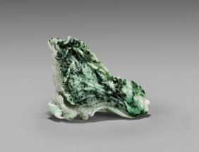 Carved Jadeite Toggle: Cabbage With Cricket