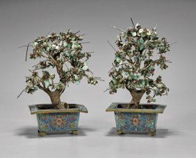 "Pair Antique Turquoise ""trees"" In CloisonnÉ"