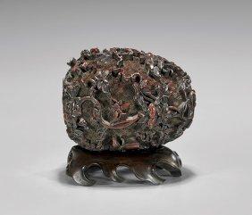 Antique Cinnabar Lacquer Melon-shape Box