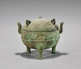 Warrings States/han Dynasty Bronze Ding Vessel