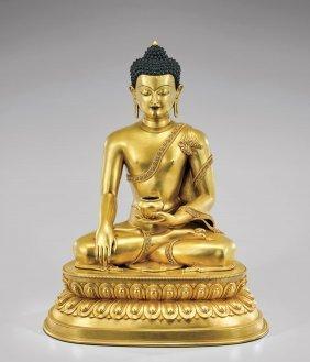 Large Sino-tibetan Gilt Bronze Buddha