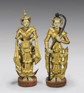 Pair Large Antique Thai Wood Figures