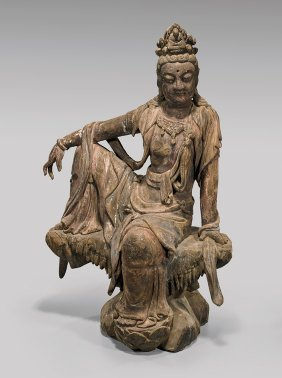 Antique Carved & Polychromed Wood Guanyin
