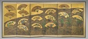 Pair Antique Japanese Six-panel Screens