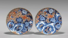 Pair Large Antique Imari Chargers