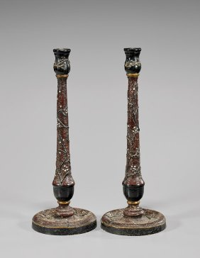 Antique Japanese Lacquered Wood Candlesticks