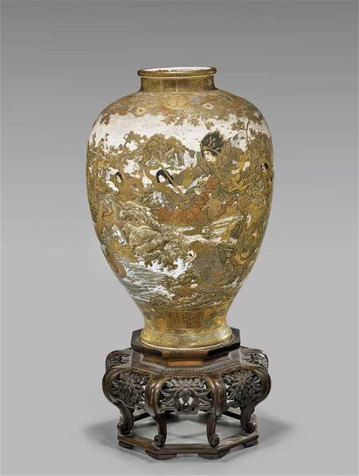 Massive Antique Satsuma Vase