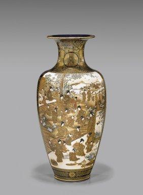 Large Antique Kinkozan Satsuma Vase
