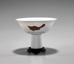 Antique Ming-style Porcelain Stem Cup