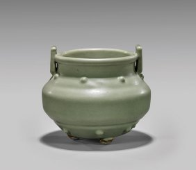 Antique Celadon Glazed Tripod Censer