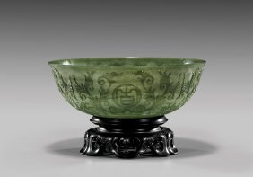 Thinly Carved Spinach Jade Bowl