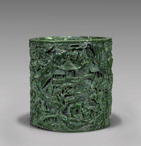 Massive Spinach Jade Brushpot