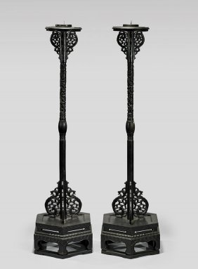 Pair Qianlong-style Hardwood Candle Holders