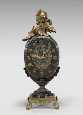 Chinese Bronze Mantle Clock