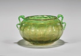 Large Daum Green Glass Bowl