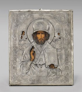 Antique Russian Painted Wood Icon