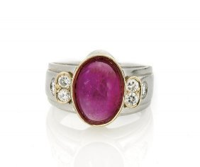 18k Yellow Gold Ruby Cabochon Ring