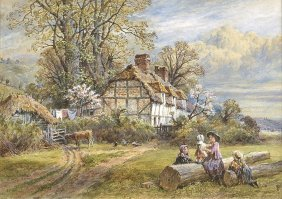 Watercolor Painting By Myles Birket Foster