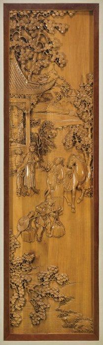 Pair Carved Wood Landscape Panels