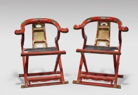 Pair Chinese Red Lacquer Folding Armchairs