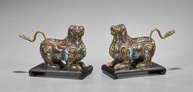 Pair Chinese Cloisonné Enamel Lions