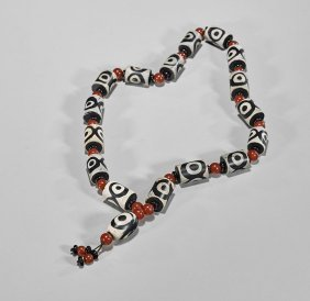 Chinese Dzi-type Bead Prayer Necklace
