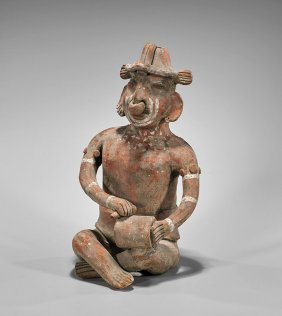 Large Pre-columbian Pottery Seated Figure