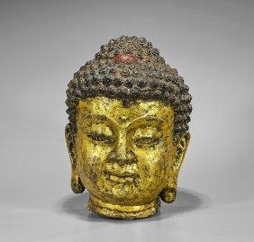 Large Chinese Gilt Bronze Buddha Head