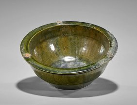 Han Dynasty Green Glazed Pottery Bowl