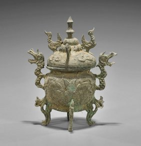 Archaistic Chinese Bronze Covered Censer