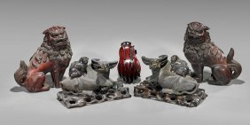 Five Chinese Wood Carvings: Animals & Box