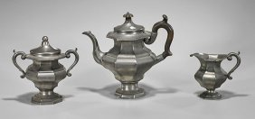 Three-piece Reed & Barton Pewter Tea Set