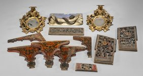 Twelve Various Carved Wood Attachments
