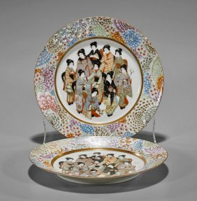 Pair Antique Japanese Enameled Plates