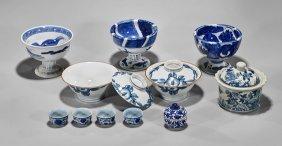 Eleven Asian Blue & White Porcelains