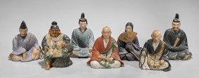 Seven Japanese Hakata Pottery Dolls