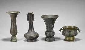 Four Antique Chinese Archaistic Bronze Vessels