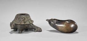 Two Antique Japanese Bronzes: Washer & Censer