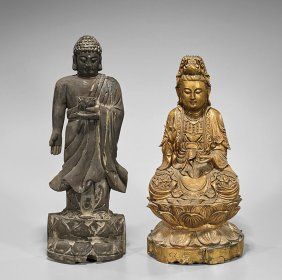 Two Chinese Carved Wood Buddhist Figures