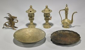 Six Brass & Bronze Asian Pieces