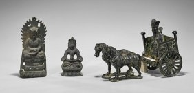 Three Old Asian Bronzes: Carriage & Two Deities
