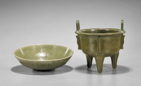 Two Chinese Celadon Glazed Vessels