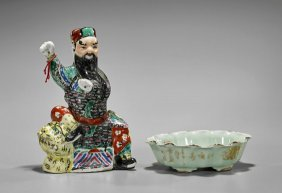 Two Chinese Porcelains: Bowl & Immortal