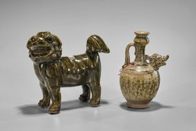 Two Chinese Glazed Ceramics: Lion & Ewer