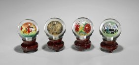 Four Chinese Inside Painted Glass Spheres