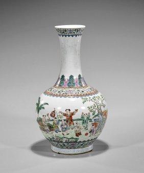 Tall Chinese Famille Rose Porcelain Vase