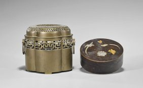 Four Items: Chinese Metal Containers & Japanese Dishes