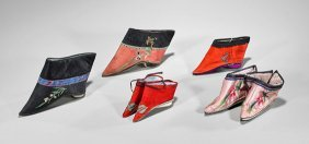 Seven Chinese Silk Embroidered Lotus Shoes