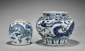 Two Yuan/ming-style Blue & White Porcelain Jars