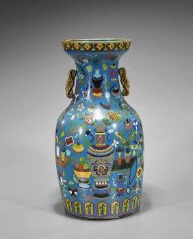 Tall Chinese Cloisonné Enamel Vase